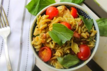 Creamy Avocado, Chicken & Pancetta Pasta Salad