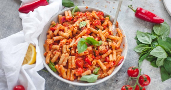 Spicy Arrabbiata Pasta With Cashew Parmesan